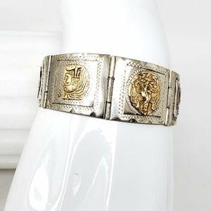 Vtg Sterling Silver Mexico Hinged Aztec Bracelet